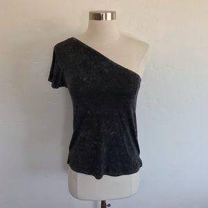 AEO Soft & Sexy Black Acid Wash One Shoulder Shirt